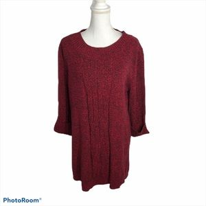 Style & Co Red Black Knit Sweater NWT XL